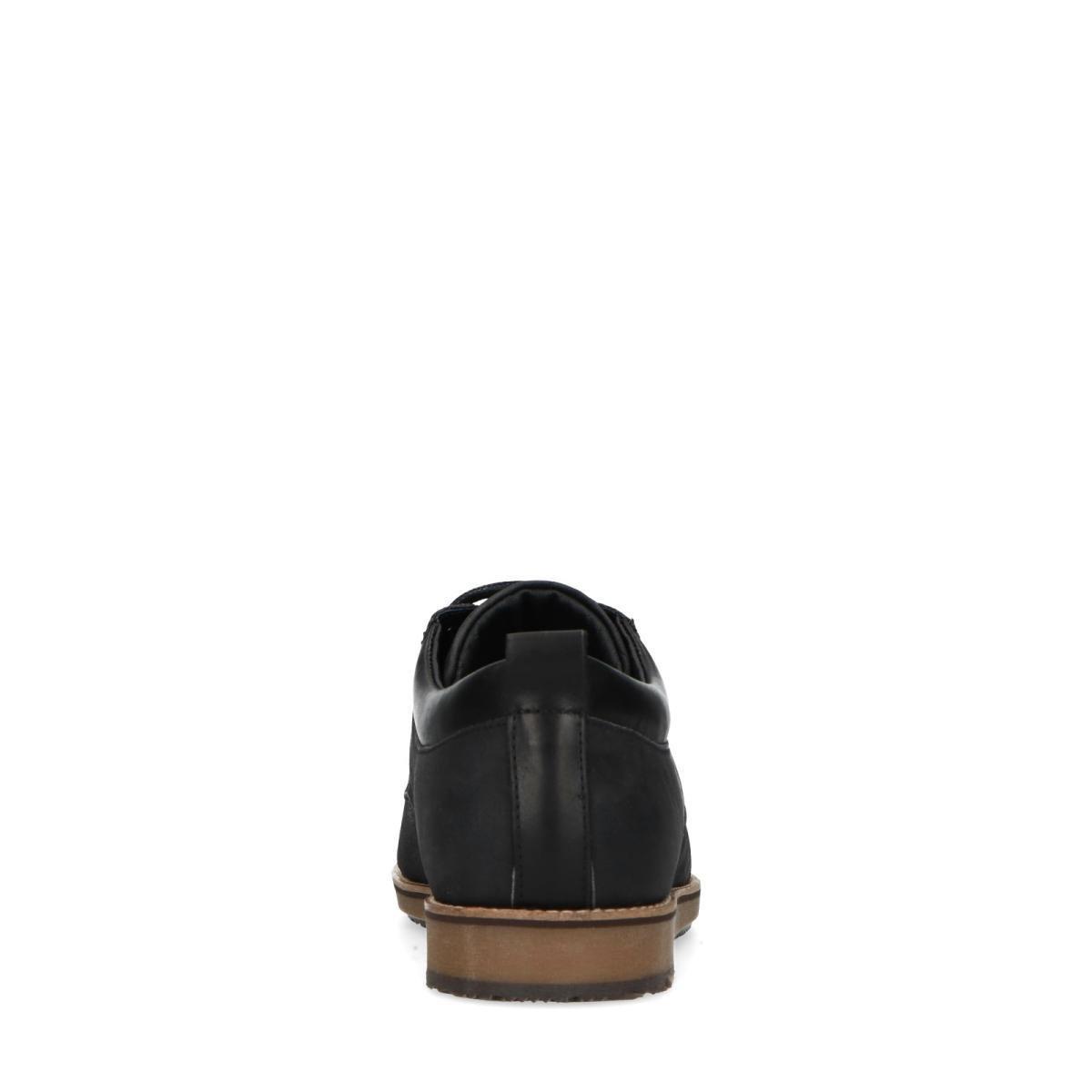Manfield - Heren - Zwarte casual veterschoenen - Maat 45 Veterschoenen