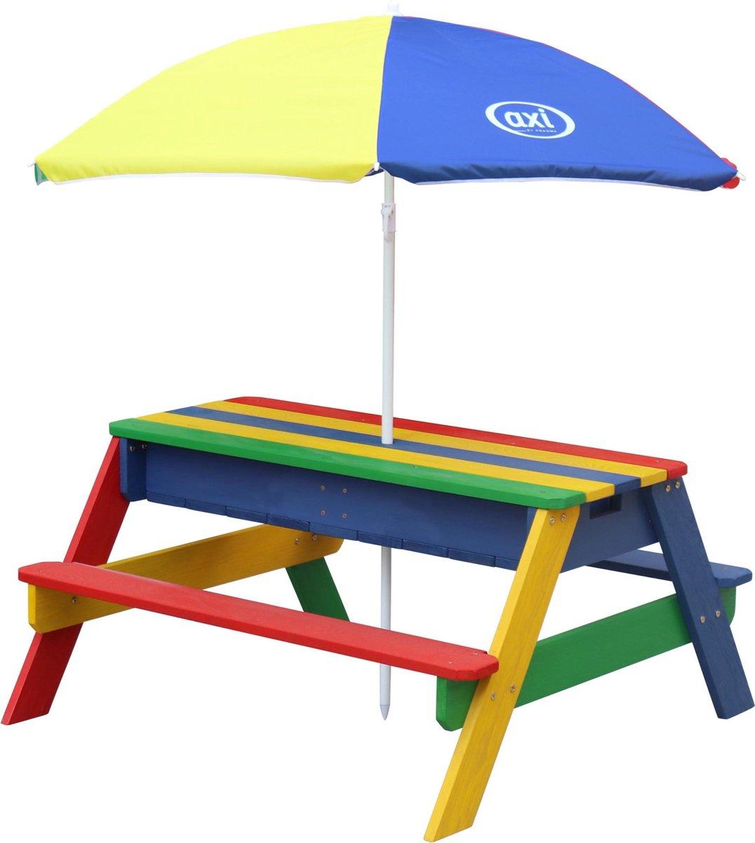 AXI Nick Zand & Water Picknicktafel Regenboog - Verstelbare Parasol - FSC Hout