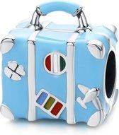 Zilveren bedel Blauwe koffer