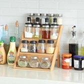 Decopatent® Kruidenrekje Staand - Kruidenrek voor 16 tot 20 kruidenpotjes - Hout - 4 laags