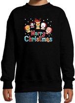 Foute kersttrui / sweater dierenvriendjes Merry christmas zwart voor kinderen - kerstkleding / christmas outfit 12-13 jaar (152/164)