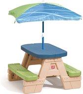 Step2 Kinder Picknicktafel Sit and Play - Incl. parasol - Eenvoudige montage - Kunststof - Groen