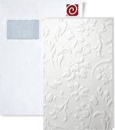 1 PROEFMONSTER S-13473 WallFace FLORAL WHITE Leather Collection | Wandpaneel STAAL in ongeveer A4-formaat