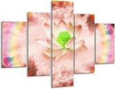 Glasschilderij Lelie   Roze, Groen   100x70cm 5Luik   Foto print op Glas    F005857