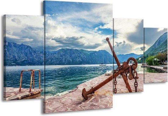 Canvas schilderij Aker   Blauw, Grijs, Bruin   160x90cm 4Luik