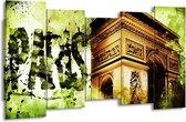 Canvas schilderij Parijs   Bruin, Groen, Wit   150x80cm 5Luik