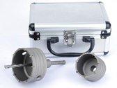 Dozenboor Kroonboor 65+80 mm Aluminium koffertje