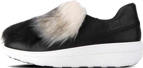 FitFlop™ Loaff™ Slip-On Leather Sneakers With Faux Fur Black – Maat 37