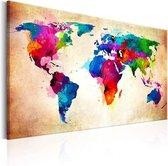 Schilderij - Wereldkaart , kleurrijke Wereld