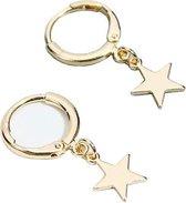 Joboly Minimalistische oorbellen met ster hanger  - Dames - Goudkleurig