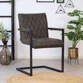Bronx71® Eetkamerstoel antraciet Diamond - Eetkamerstoelen met armleuningen - Industrieel - Eco leer stoel - Waterafstotend - Eetkamerstoel grijs