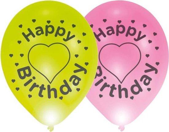 Balloominate Ballonnen Met Led-verlichting Happy B'day 27,5 Cm 4 St
