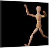 Dibond –Rennende Ledepop met Zwarte Achtergrond– 50x50 Foto op Aluminium (Wanddecoratie van metaal)