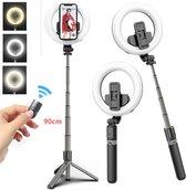 STHER© Ringlamp Selfie Stick met Afstandsbediening -90 cm- Ringlamp Statief- Drie verschillende soorten licht- Compact- Oplaadbaar-Tik Tok -Selfie Stick Tripod