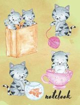 Notebook: Composition Notebook With Cute Baby Cats, Collage Ruled, Great For Kids
