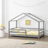 Kinderbed huisbed met uitvalbeveiliging 80x160 lichtgrijs