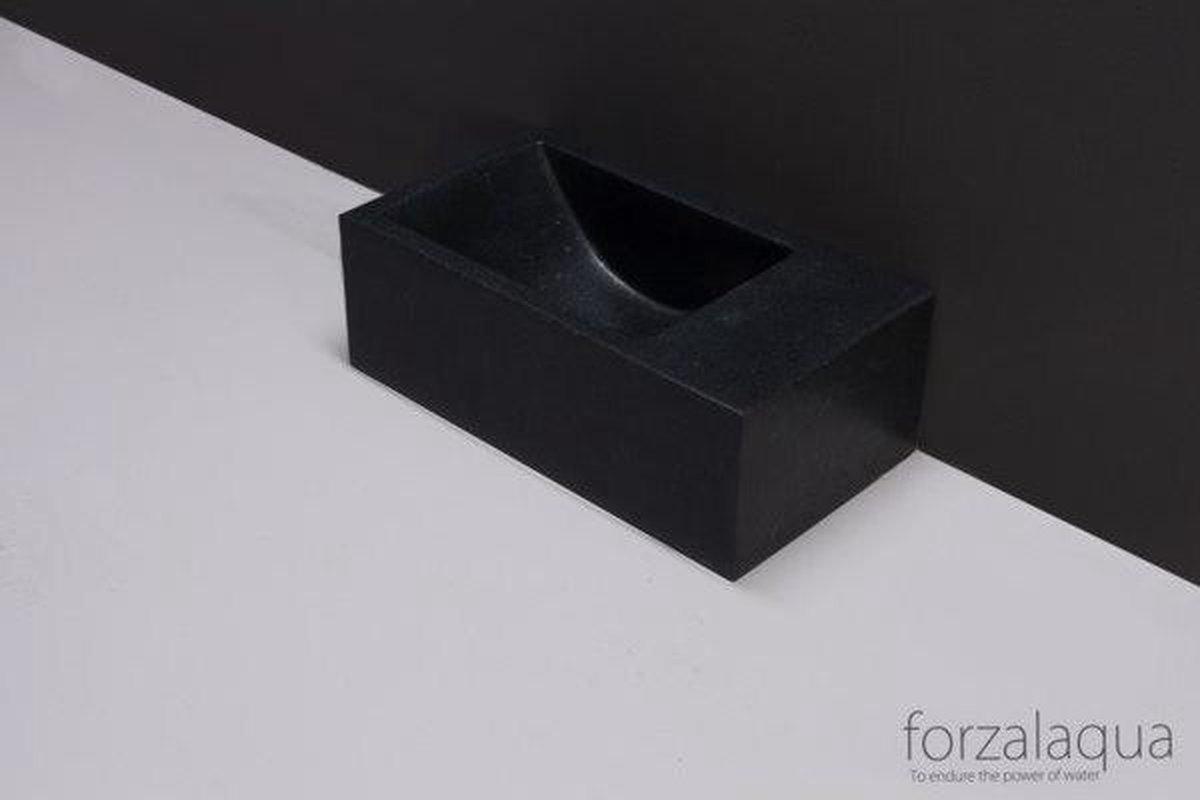 Forzalaqua Venetia Xs fontein 29x16x10cm 1 kraangat rechts rechthoek graniet gezoet antraciet