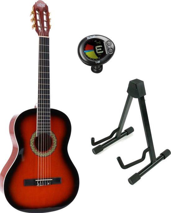 LaPaz 002 SB klassieke gitaar 4/4-formaat sunburst + statief + tuner