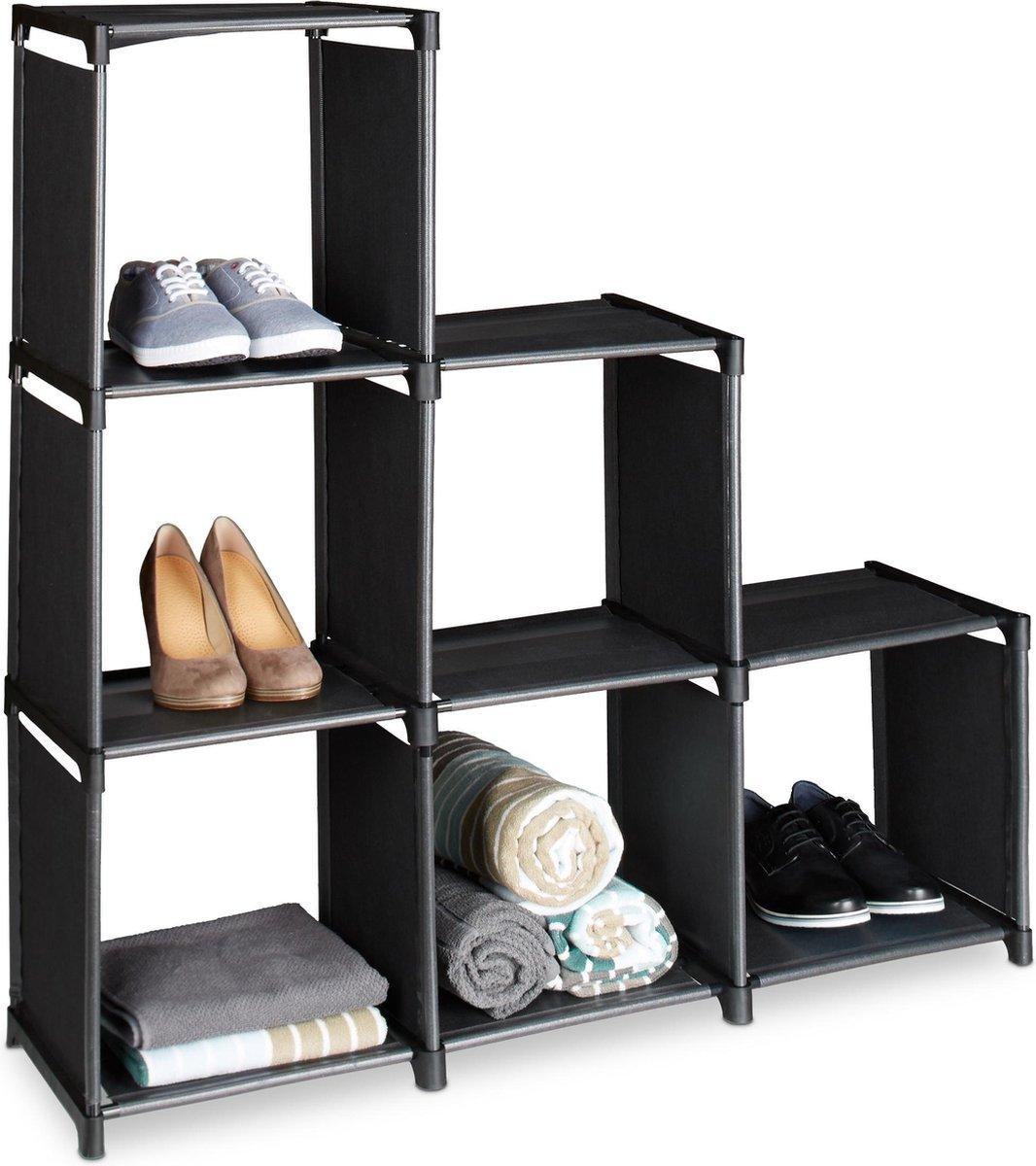 relaxdays vakkenkast 6 vakken trapsgewijs - roomdivider - steekverbinding - ruimteverdeler zwart - Relaxdays