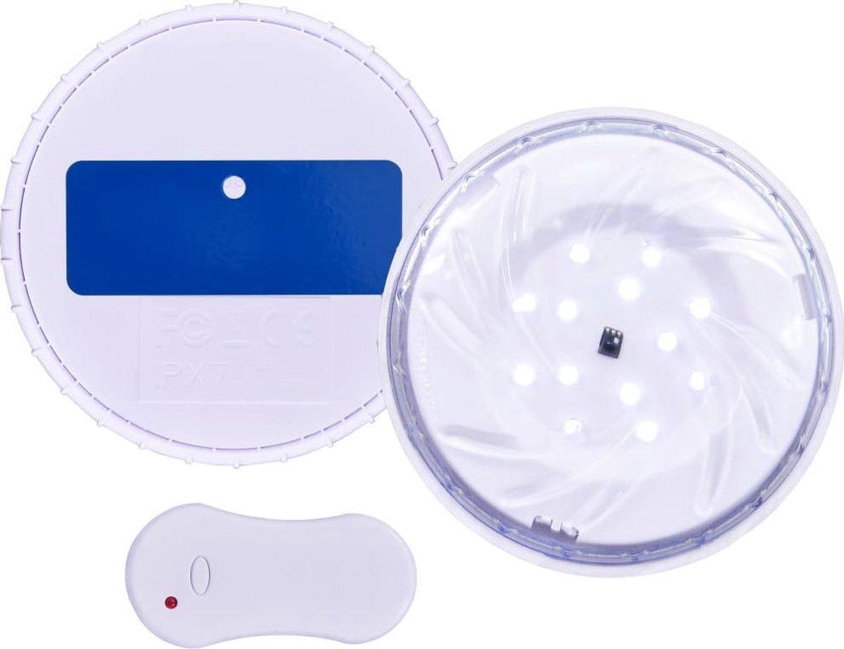vidaXL Zwembadlamp dompelbaar drijvend LED met afstandsbediening wit