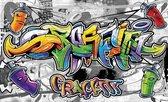 Fotobehang Vlies   Graffiti   Grijs, Geel   368x254cm (bxh)