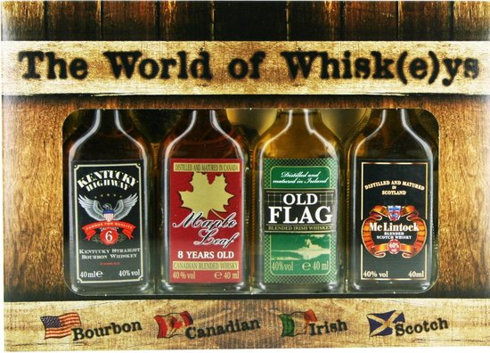The World of Whisk(e)ys vierdelige whisky giftbox - 4 x 4 cl
