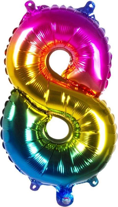Boland Folieballon Cijfer 8 Latex Regenboog 36 Cm