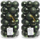 74x Donkergroene kunststof kerstballen 6 cm - Mix - Onbreekbare plastic kerstballen - Kerstboomversiering donkergroen