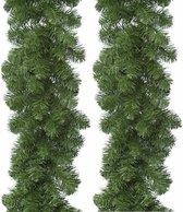 2x Groene Imperial Pine dennen guirlande 270 cm - Dennenslingers kerstversiering