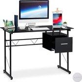 relaxdays computertafel met lade - pc tafel glas - bureau - laptopbureau zwart