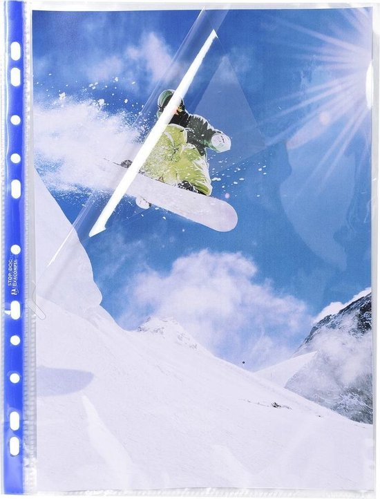 10x Stop Doc® Pak van 10 geperforeerde showtassen -hoekopening - gladde PP 6/100ste - A4, Kleurloos