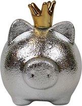 Spaarpot spaarvarken zilver met kroon 16 x 15 cm - Dieren spaarpotten varkens/biggen voor kinderen en volwassenen