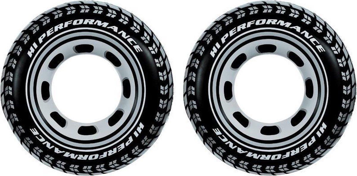 2x Opblaasbare autoband/wiel zwemband/zwemring 91 cm speelgoed - Buitenspeelgoed waterspeelgoed