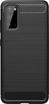 Shop4 - Samsung Galaxy S20 Ultra Hoesje - Zachte Back Case Brushed Carbon Zwart