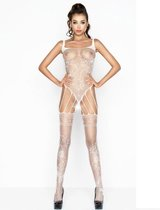 Passion woman - erotische catsuits - wit - net-erotische catsuits - open kruis - one size / sex / erotiek toys