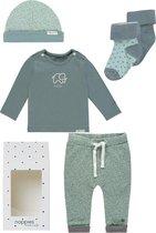 Noppies Cadeauset (5delig) 2paar sokken, Broek Mint met stip, Shirt Mint met Olifant en Mutsje - Maat 56
