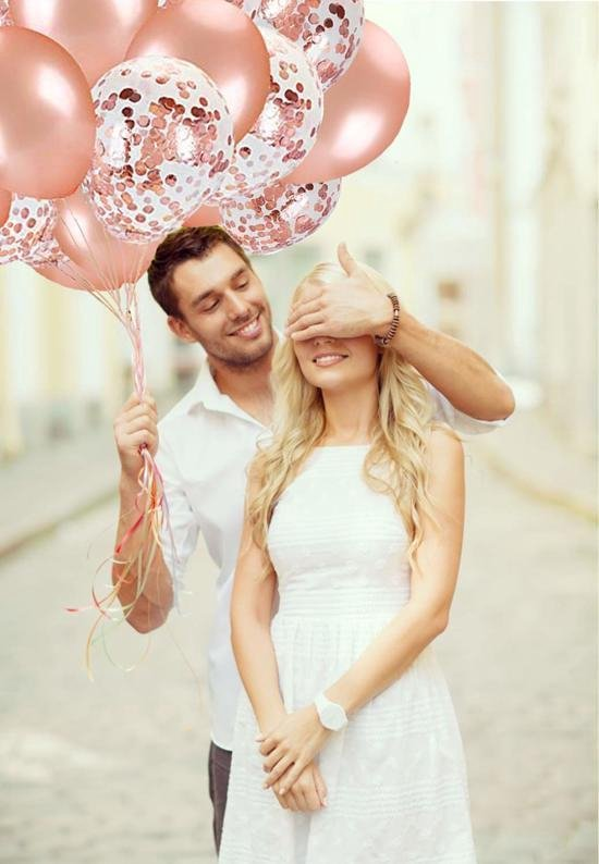 Hrb Commerce® Confetti Ballonnen 24 Stuks + 10m Krullend Lint - Rosé Gouden Decoratie – Helium – Latex - Baby Shower Bruiloft Verjaardag