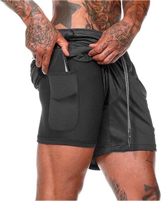 MW Sportbroekje voor Heren - Gym broek met binnenzak voor mobiel - 2 in 1 Pocket Shorts - Running, Fitness, Sport broekje - Quick Dry - Mobiel Zak (Zwart - Maat L)