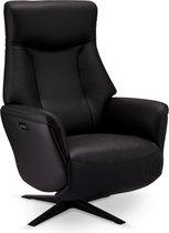 Omya relaxstoel fauteuil met elektrische rugleuning en voetensteun, draaivoet, zwart PU kunstleer, zwart metaal.