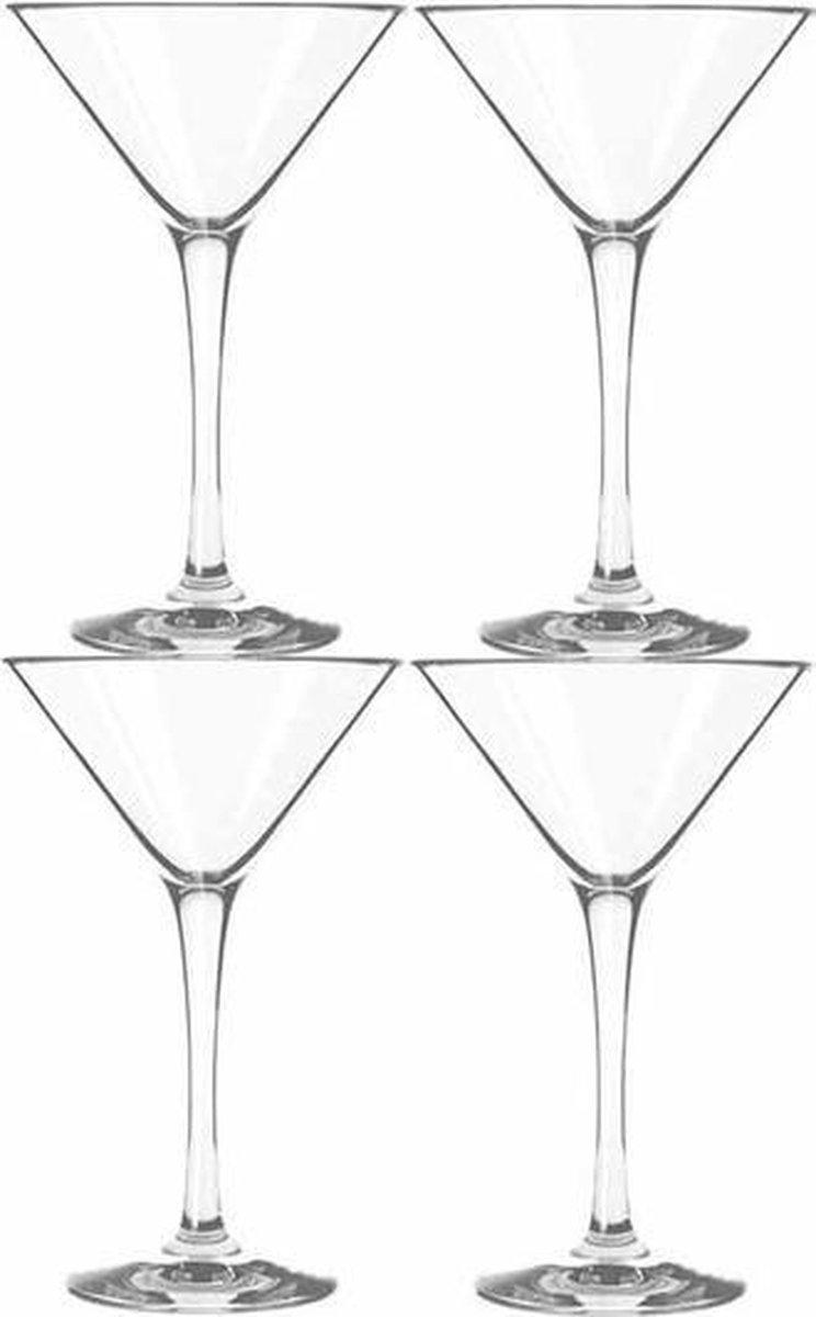 4x Cocktail/martini glazen transparant 260 ml Martini serie - 26 cl - Cocktail glazen - Cocktails dr