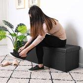 Deuba Opvouwbare zitkist met scharnierend deksel zwart- 115x38x38cm
