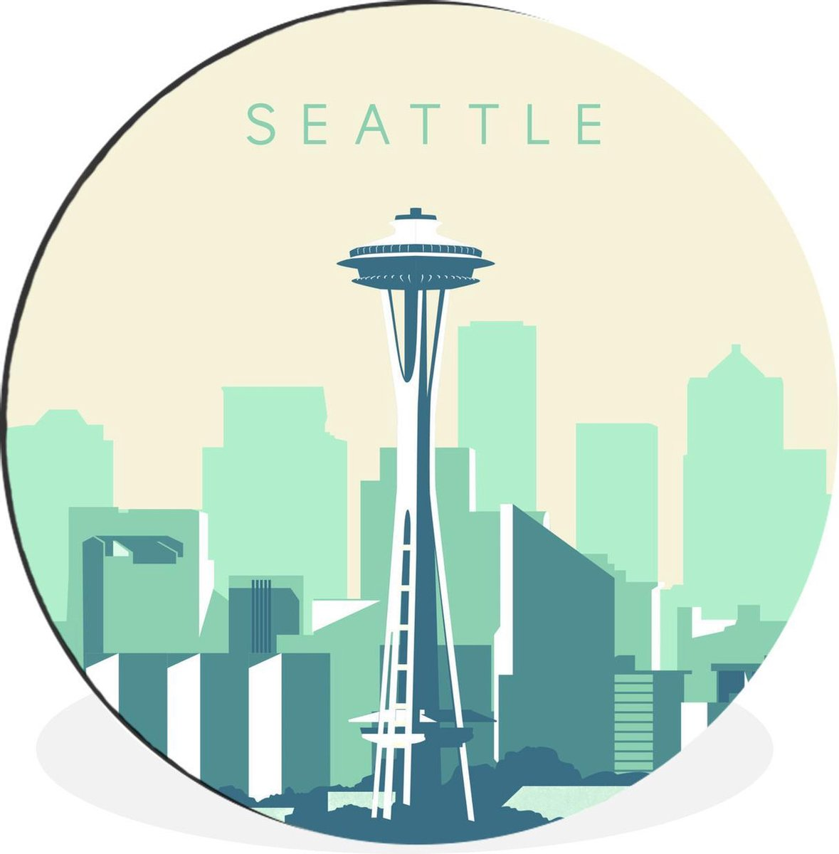 Wandcirkel Amerika Reizen Illustratie aluminium - Seattle illustratie, Washington State -   120 cm - rond schilderij - fotoprint op aluminium / dibond / muurcirkel / wooncirkel / tuincirkel (wanddecoratie) XXL /