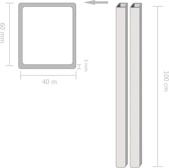 vidaXL Kokerbuizen rechthoekig 1m 60x40x3mm constructiestaal 2 st  VDXL_143141
