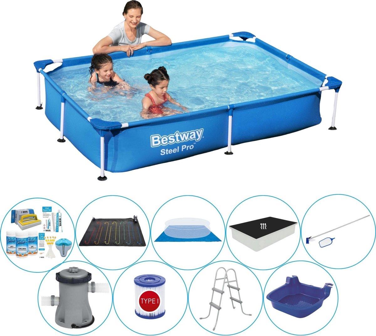 Bestway rechthoekig zwembad - duo set - inclusief grondzeil - 220 x 150 x 43