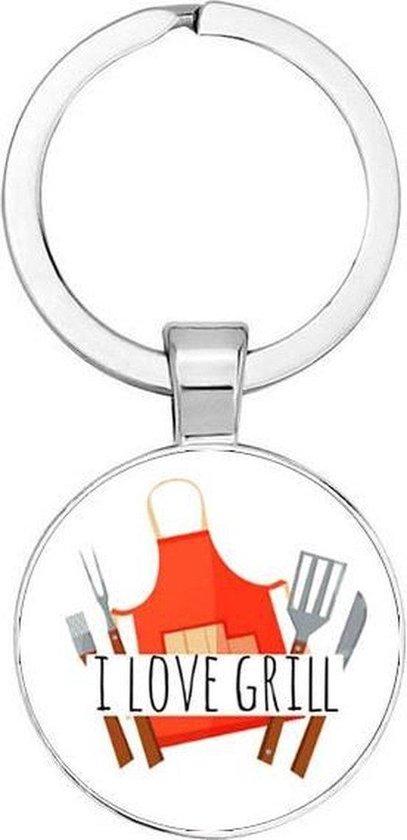 Akyol® I love grill Sleutelhanger | BBQ | Barbecue liefhebber | Leuk kado voor iemand die van barbecueën houd | 2,5 x 2,5 CM