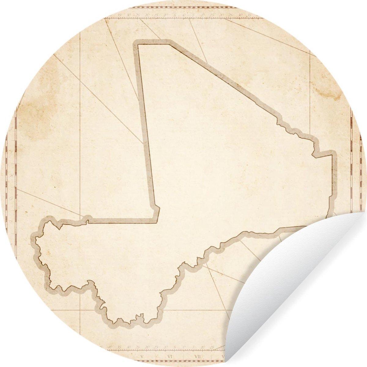Wandcirkel Mali illustratie - Illustratie van Mali in vintage stijl -   30 cm - rond schilderij - behangcirkel - muurcirkel - wooncirkel - zelfklevend & rond uitgesneden