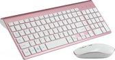 Draadloos toetsenbord en Muis - QWERTY keyboard - 2.4 GHZ - Voor PC, Laptop, Tablet - Compatible met Windows/Android - Rosé-Goud