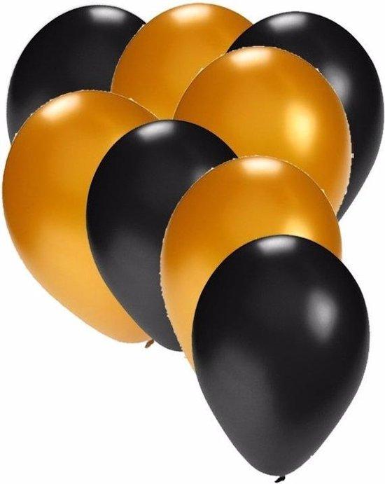 60x stuks party ballonnen zwart en goud 27 cm - Feestartikelen/versieringen