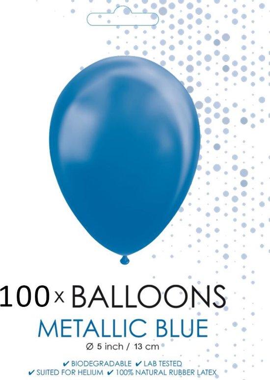 100 Kleine ballonnen metallic blauw.
