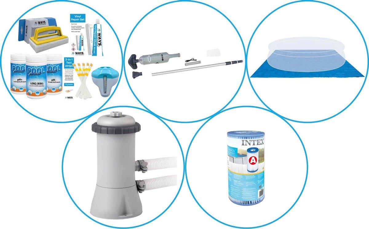 Zwembad Accessoirepakket 4-delig - WAYS Onderhoudspakket & Filterpomp (28604GS) + Filter & Zwembad stofzuiger & Grondzeil